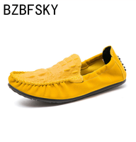BZBFSKY new Colorful Casual Peas Shoes Men Slip On Loafers Men Moccasins Khaki Yellow Driving Shoes Breathable Comfortable Flats