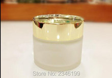 100G 100ML Frost Glass Jar with Silver Gold Cover, Glass Cream Jar ,Cosmetics Cream Packing Jar, 10pcs/lot(China)