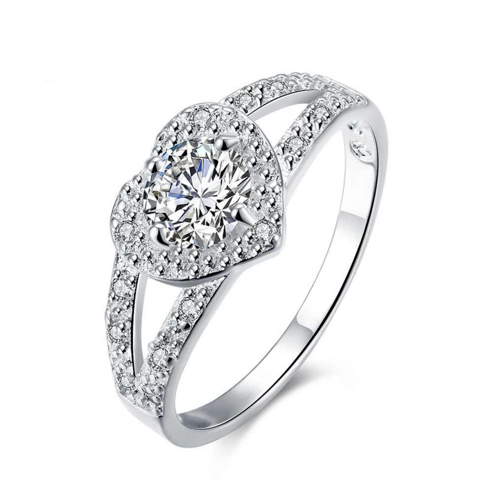 ใหม่แฟชั่น Silver Zircon แหวนแฟชั่นเครื่องประดับ Super แฟลชรักของขวัญคู่ 925 Sliver OEM