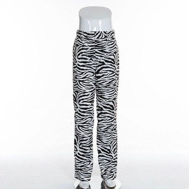 BOOFEENAA mode zèbre imprimé Animal pantalon large jambe femmes automne hiver pantalon décontracté Sexy taille haute cloche bas pantalon C55-AC75