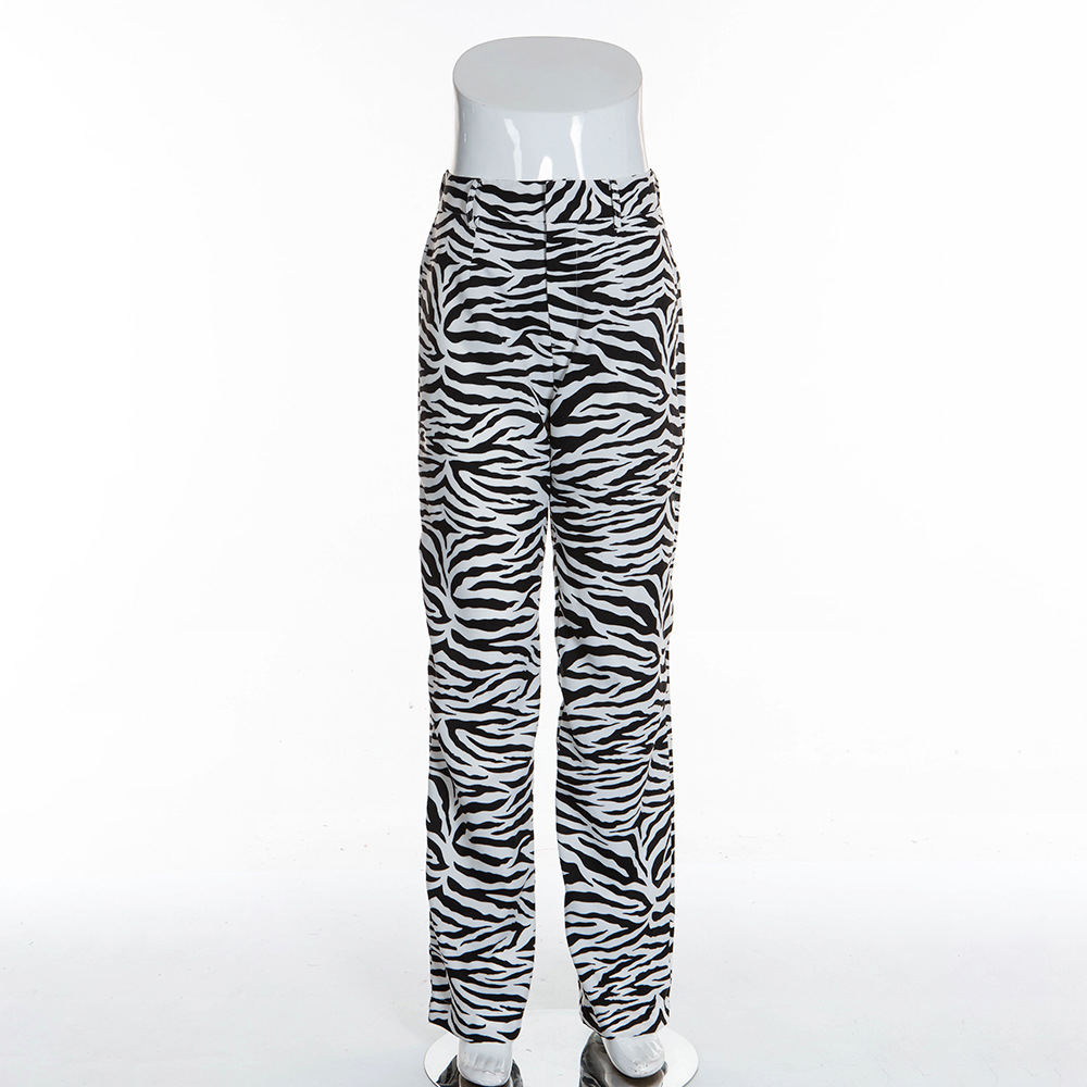 BOOFEENAA Fashion Zebra Animal Print Wide Leg Pants Women Fall Winter Casual Trousers Sexy High Waist