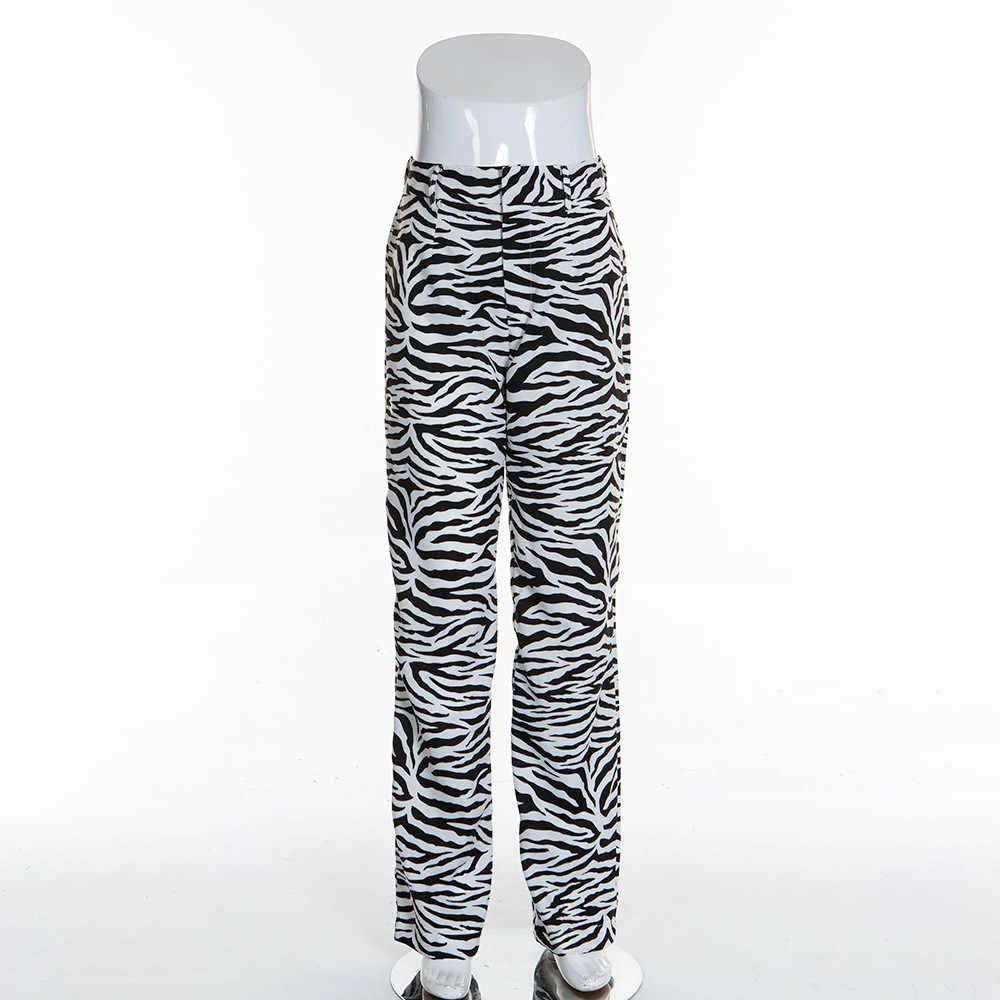 BOOFEENAA Mode Zebra Animal Print Wijde Pijpen Broek Vrouwen Fall Winter Casual Broek Sexy Hoge Taille Bell Bottom Broek C55-AC75