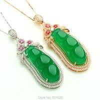 Mooie 925 zilveren Gesneden Edelsteen Natuurlijke Groene YuSui Bonen Inlay Lucky Hanger + Collier Mode-sieraden