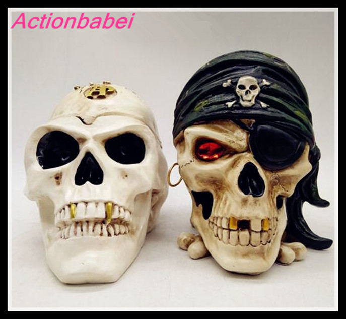 Toys Ornaments Replica Creative for Boy Gifts Container Skull Cigarette Smoking-Ashtray