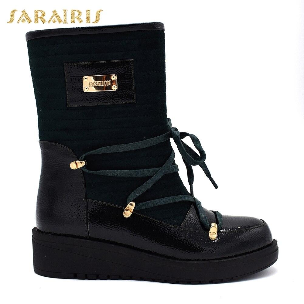 1cf56111fc8 SARAIRIS New plus Size 35 40 Dropship Lace Up Women Boots Woman Shoes Wedge Heels  Mid Calf Boots Shoes Woman-in Mid-Calf Boots from Shoes on Aliexpress.com  ...