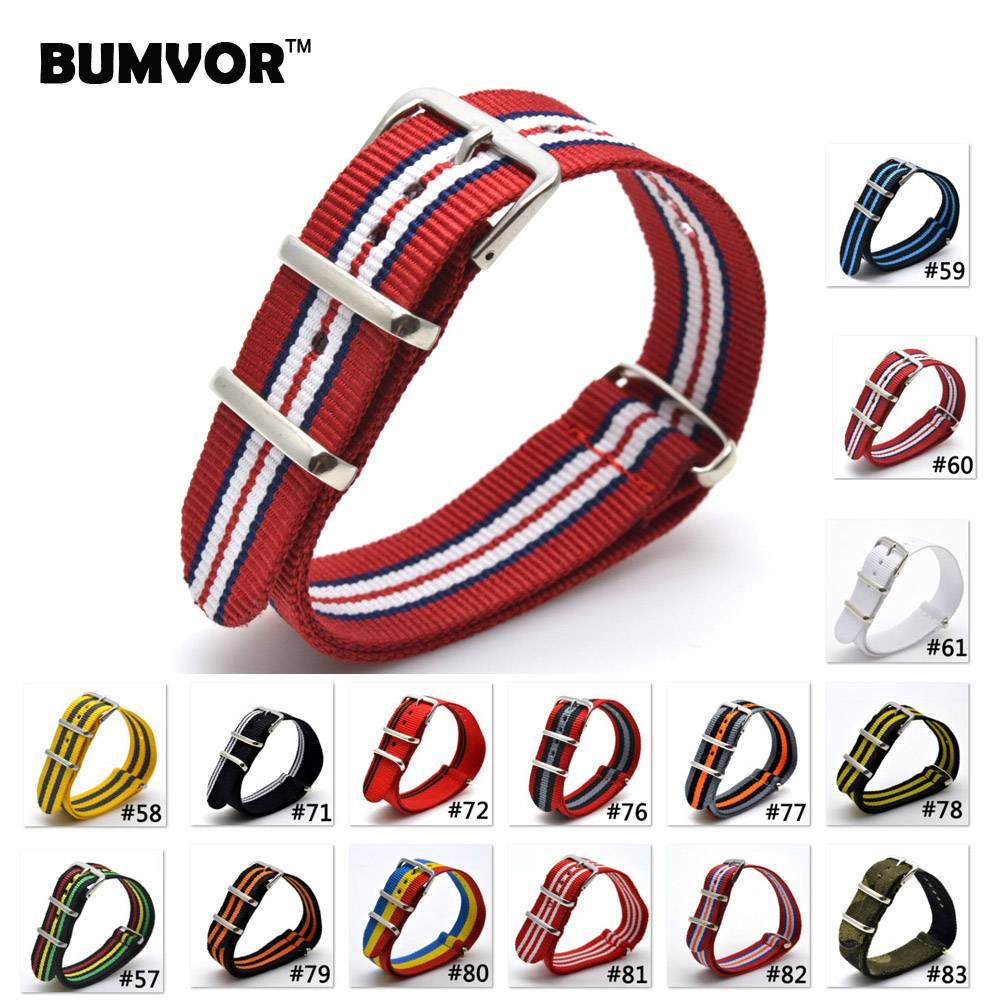 BUMVOR 2018 Hot Sale 22mm Multi Color Army Sports bracelet nato fabric Nylon watchband Watch Strap Accessories Bands Buckle belt top quality retro wholesale 16 mm black army sports nato fabric nylon watchband watch strap accessories bands buckle belt 16mm