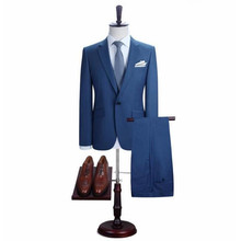 Custom made men suits handsome men wedding suits blue one button groom suits prom suits(jacket+pants)