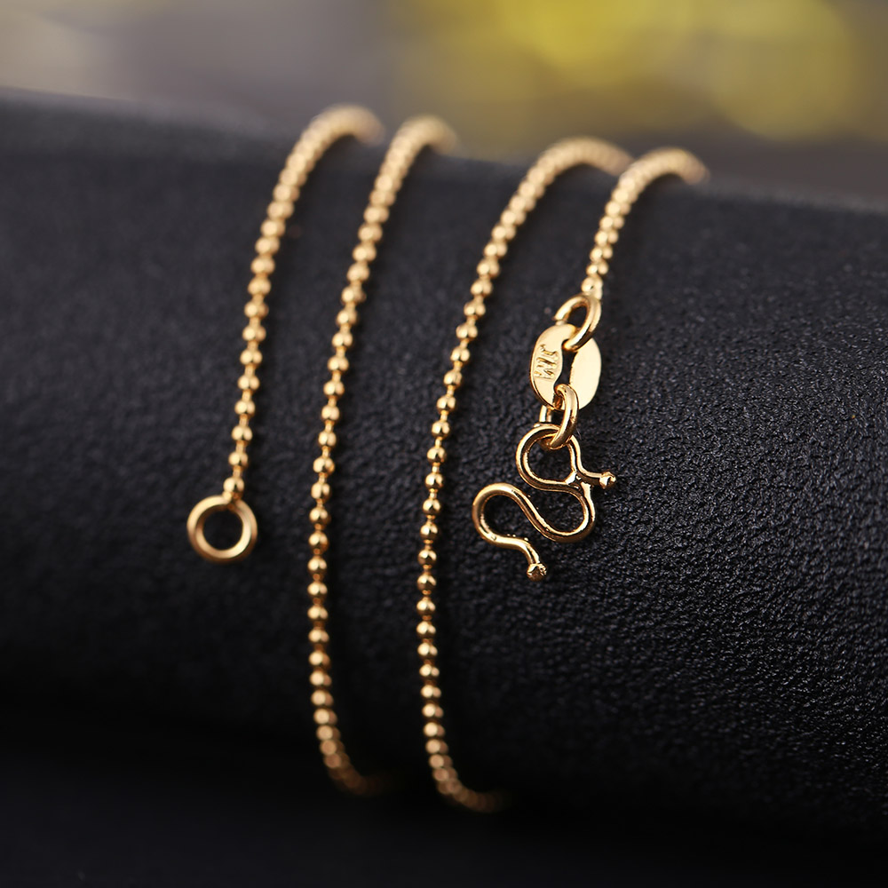 Gargantilhas colar de colar de colar de colar de colar de ouro amarelo 24k colar de corrente de contas redondas