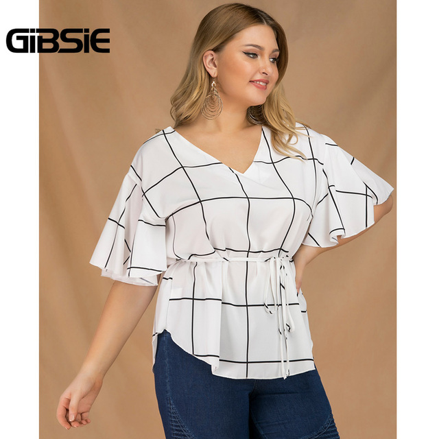 GIBSIE Plus Size Tie Waist Plaid Shirt Top Women 2019 Summer Fashion V-Neck Butterfly Sleeve Casual Ladies Tops and Blouses 4