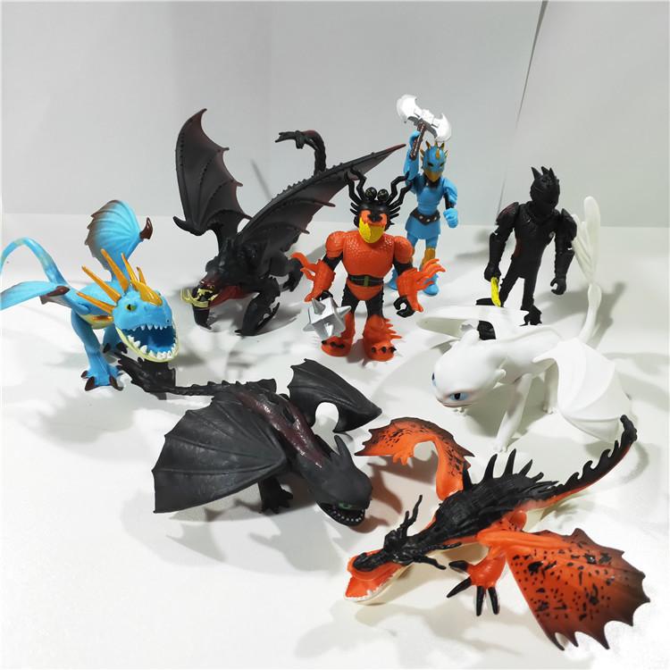 New 8 Pieces/Lot Dragon 3 Toothless Light Fury Night Fury Action Figure White Dragon Toys Children's Gift