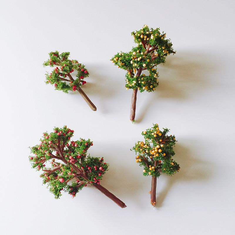 4pcs Mixed Designs Artificial Fruit Trees Cute Plants Fairy Garden