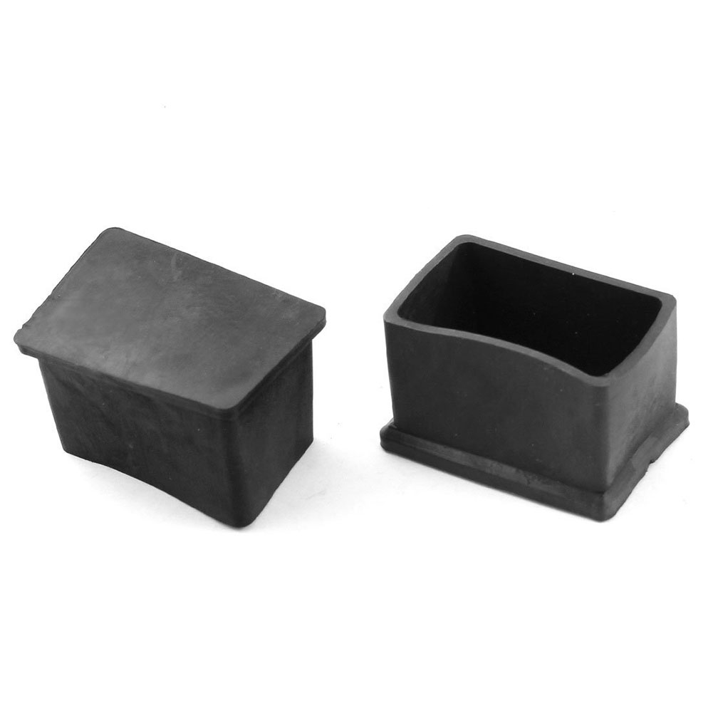 Furniture Rectangular Leg Protector PVC Soft Glue Foot 30mmx50mm 2Pcs Black pvc soft glue furniture table foot round