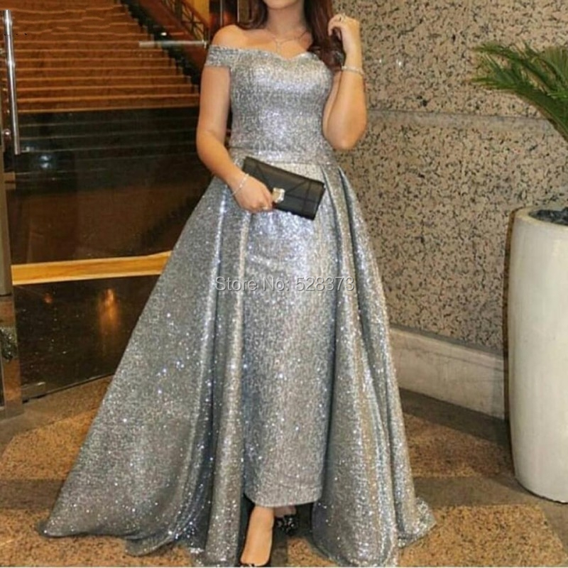 YNQNFS ED105 Bling Sequins Silver Grey Woman Dress Elegant Evening High Low Party Gowns Formal Dress 2018