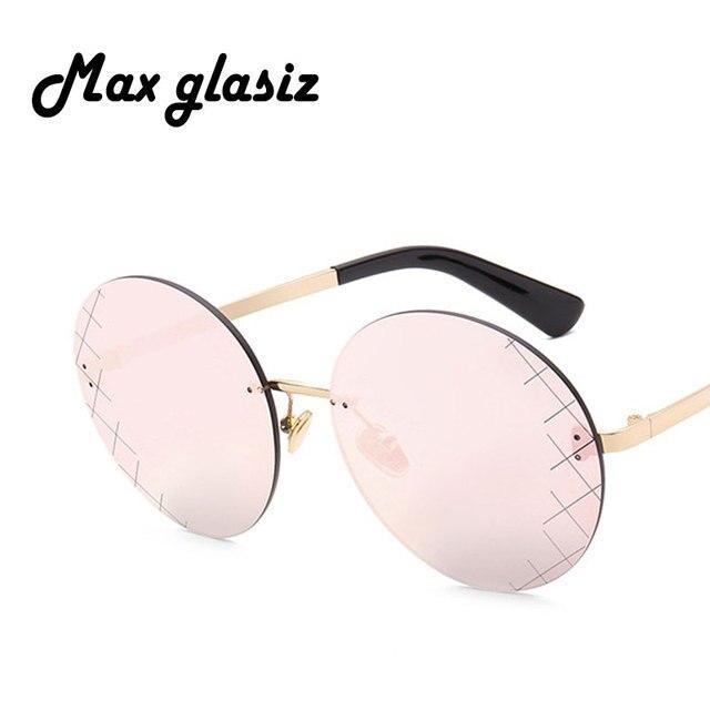 f6f9805137d32 2017 Rimless Round Sunglasses Women Men Brand Designer Sun Glasses for  Women Alloy Mirror Sunglasses Ladies