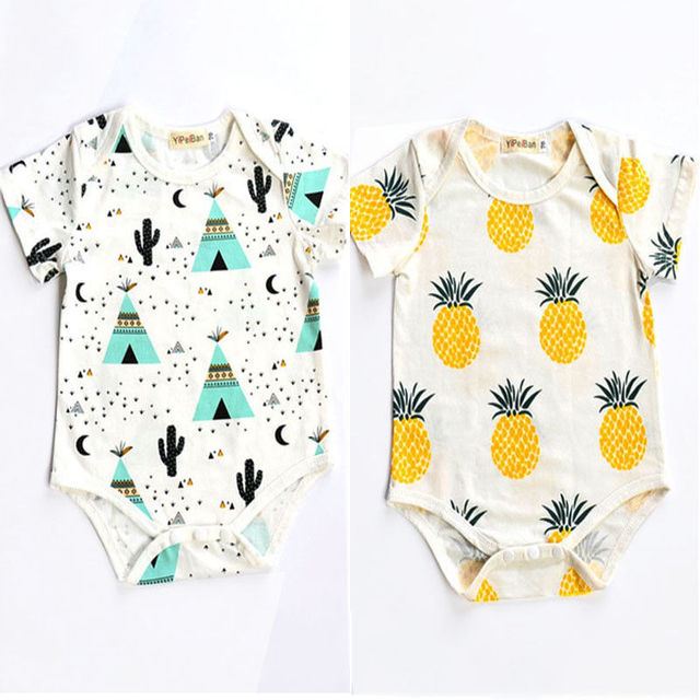 4e757934418 Summer Newborn Romper Kids Baby Girl Boy Clothes short sleeve pineapple  tent Romper Jumpsuit Outfits 0-24M