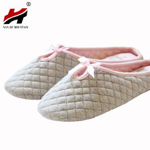 Cute Bowtie Winter Women Home Slippers For Indoor Bedroom House Soft Bottom Cotton Warm Shoes Adult Guests Flats Christmas Gift(China)