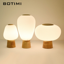 BOTIMI Japanese Style LED Table Lamp With Glass Lampshade Wooden Bedside Lighting Book Lamps Reading Button Switch Luminaria