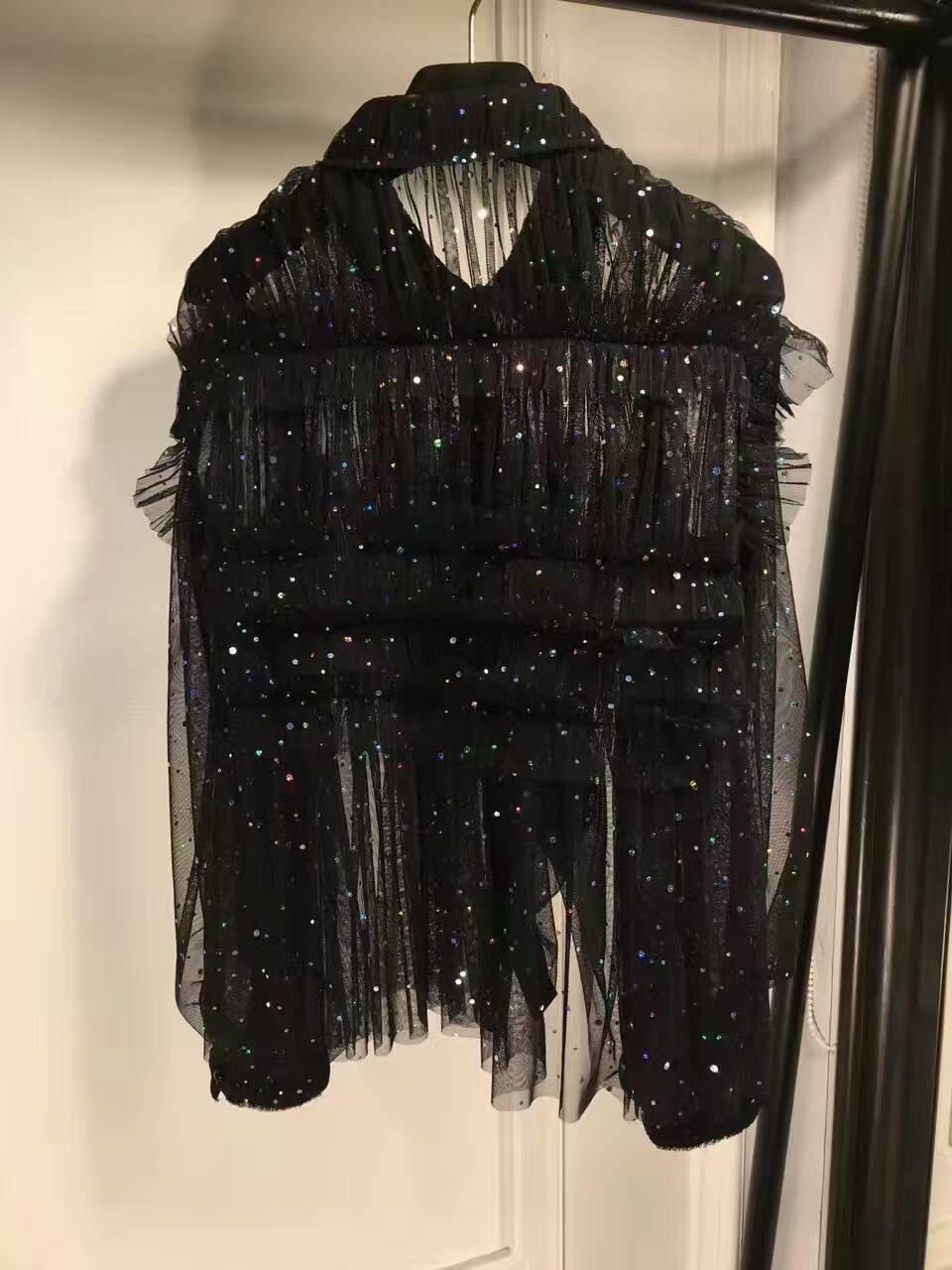 Dentelle Pour Haut Blusas Blouses Maille Chemise Mode Paillettes Avec En Élégantes Bling Incroyable Femmes Noire Tissu Blouse vwFFxqa5
