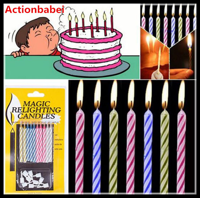 Actionbabei Special 10 Packs Magic Trick Funny Relighting Candle Birthday Cake Mate Party Prank Joke Toys