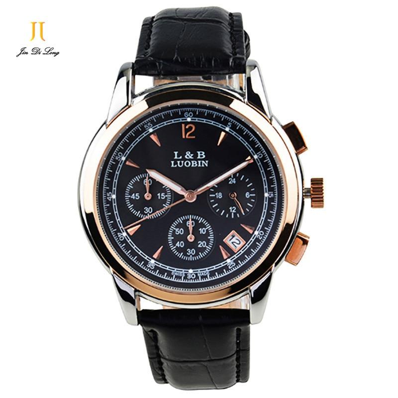 Brand New Classic Fashion Quartz Watch Men 3 Sub-Dial Business Sport Watch Genuine Leather Strap Luminous Clock Waterproof 247 classic leather