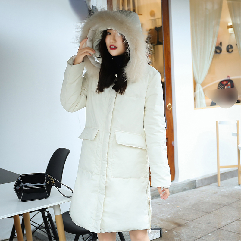Winter British style great quality big pockets real duck   down     coat   femal fluffy bread style fur hooded warm   down     coat   wq720