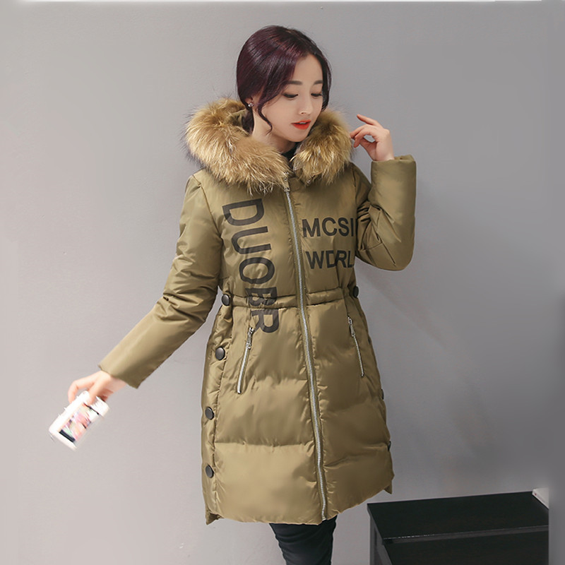 2016 New Winter Jacket Female Korean Style Women's Fashion Slim Fur Collar X-Long Tide Coat