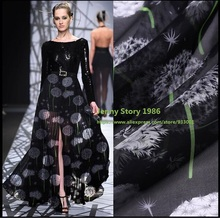 1 Meter/los 140 CM Breite seidenstoff löwenzahn bedruckter Seide chiffon stoff natur siebdruck Stoff Textil Für Kleid Tuch schal