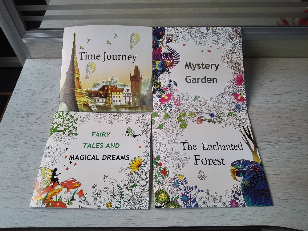 4PCS LOT English Edition Mystery Ganden The Enchanted Forest Time Journey Fairy Tales Coloring Book Secret Garden Style 24 Pages In Books From Office