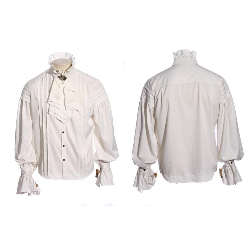 Стимпанк Мужская стойка воротник однобортный Галстук Узел Повседневная белая шифоновая рубашка Топ Элегантный джентльмен