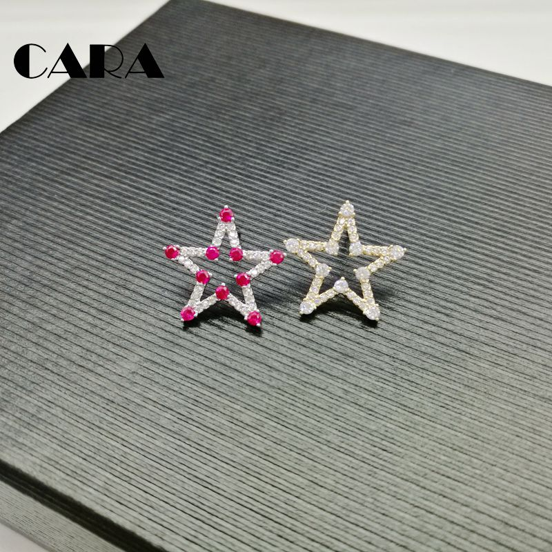 2019 New arrival office ladies stylish star studs earrings High tech pave setting Cubic Zirconia earrings jewelry CARA0140 in Stud Earrings from Jewelry Accessories