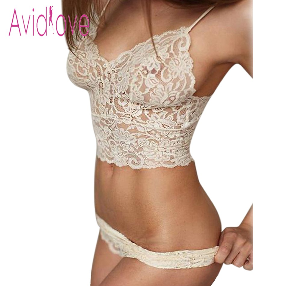 Avidlove 2018 Sexy Lingerie Bralette Set Women Sexy Corset Hollow Lace See-through Underwear Cami Lingerie Bra Set Sex Clothes trendy see through off the shoulder long sleeve lace blouse for women