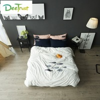 Japanese Style 100 Cotton Embroidery Bedding Set Full Queen King Size Cartoon Fish Duvet Cover Bedspread