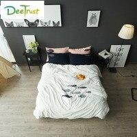 和風綿100%刺繍寝具セットフル/クイーン/キングサイズ漫画魚布団カバーベッドカバー柔らかい白ベッドカバ
