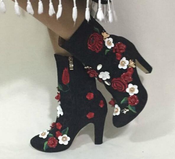 Flowersizme të larta të qëndisura me lule të larta, çizme të - Këpucë për femra - Foto 5