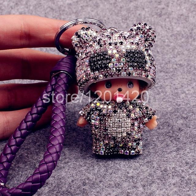 Monchichi keyring cute keychain bag charm rhinestone sparkly keychains leather rope lanyards crystal monchichi kawaii monchhichi