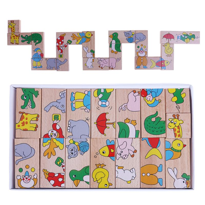 15pcs/Set Dominoes Block Toys Wooden Cartoon Animal Pattern Dominoes Block Jigsaw Tangram Toy Baby Educational Cute Toys Gift 26pcs wooden fun big building block with animal brand top bright high quality for baby kid toy gift boy brinquedo menina tp048
