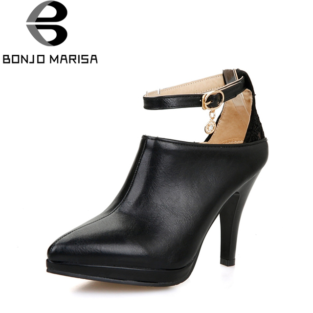 3de4fae54f5 BONJOMARISA 2019 New Fashion Spring Autumn Platform Black Ankle Strap Pumps  Large Size 34-43 Pointed Toe High Heel Women Shoes