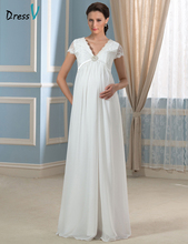 2016 New Fashion Maternity/ Pregnant Wedding Dresses White Chiffon V-neck Crystal with Short Sleeves Empire Bridal Gowns