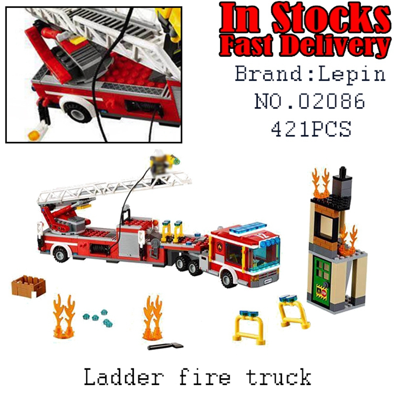 LEPIN City Ladder fire truck 02086 421pcs Building Blocks Bricks educational toys for children Christmas gifts brinquedos 60112 6727 city street police station car truck building blocks bricks educational toys for children gift christmas legoings 511pcs