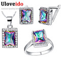 Uloveido Square Women's Bridal Jewelry Set Wedding Jewelry Sets Gifts Pendant Earrings Ring Parure Bijoux Femme Brinco Sale T483