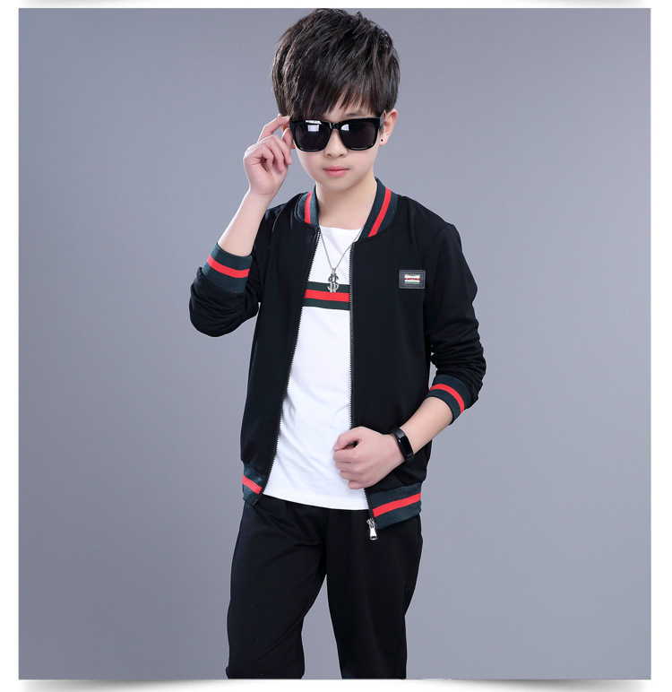 2018 Teen Boys Clothing Set Kids Clothing Sets Long Sleeve Autumn Spring Children's Sports Suit Boys Clothes new spring kids clothes navy long sleeve pullover striped sports suit casual boys clothing set z249