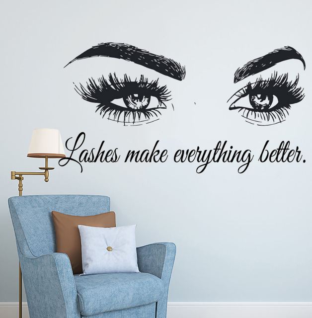 Wall Art Sticker Eyelashes Lashes Extensions Wall Decal Beauty Salon Quote Wall Decor Eye Eyebrows Make Up Vinyl Art AY1075