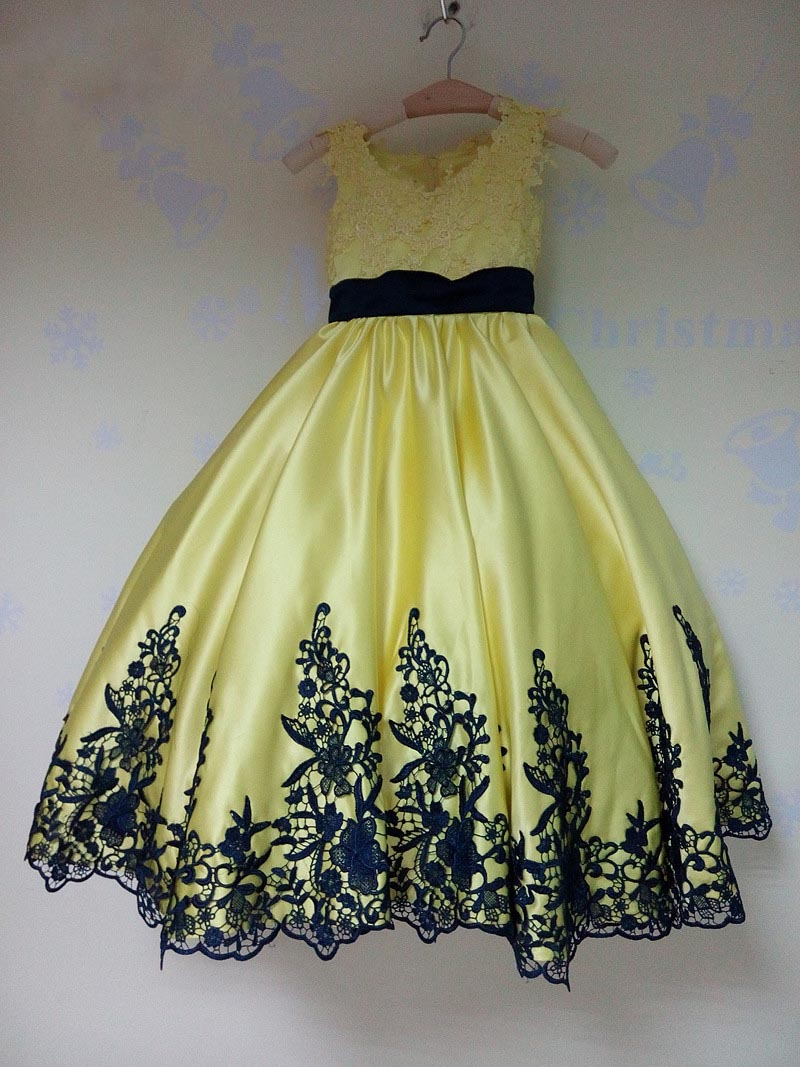 Cute Girls Pageant Dresses Black Lace Appliques Yellow Ball Gown