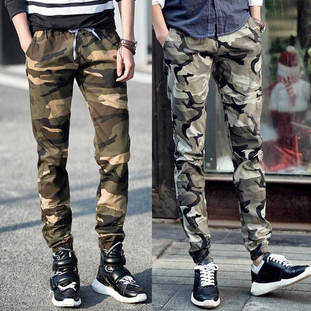 Estilo militar de camuflaje pantalones ocasionales de los guardapolvos del verano fuera del tren de ocio pantalones de los hombres flojos foot jog haz joggers