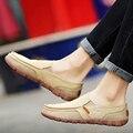 Новое прибытие весна мужчины квартиры обувь комфорт дышащий холст обувь скольжения на высокое качество резиновые мокасины k30