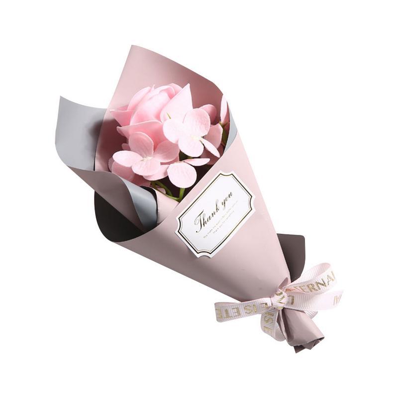 Красивый одиночный букет розы ручной работы мыло цветок подарок на день матери мини букет подарок на день рождения искуственные цветы для декора - Цвет: Pink