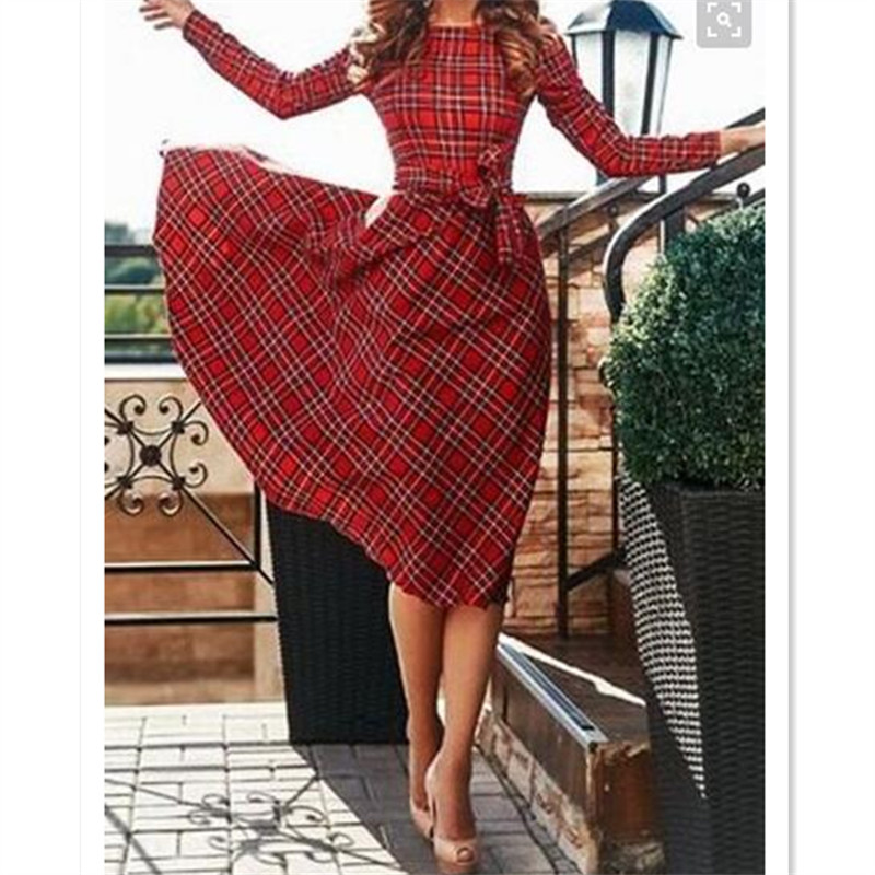 High Waist 7xl Plus Size Customized Woman Red Plaid Tie Waist Long
