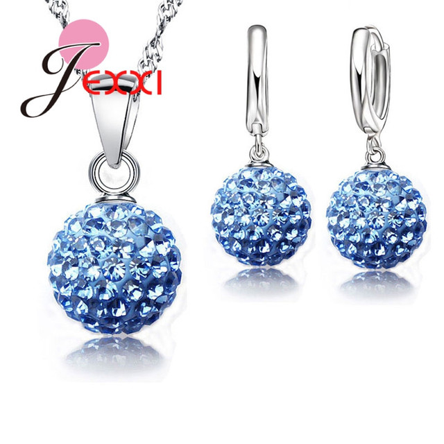 JEXXI Best Hot New Jewelry Sets 925 Sterling Silver Austrian Crystal Pave Disco
