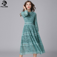 FOLOBE Spring Autumn Women Lace casual dress High Neck 3/4 Long Sleeve Plus Size Party Dress Female Clothing Mid Calf