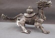 shitou 001278 China Palace White Copper Silver Feng Shui Evil wealth beast Kirin Dragon Statue